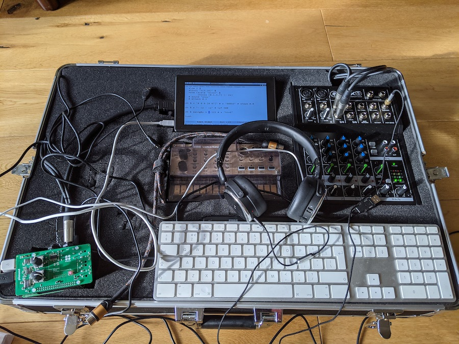 A box of synths and other music making gear